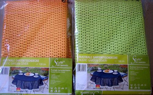 Gartentischdecke Garten Tischdecke D 130cm Grün oder Orangegelb mit Franzen