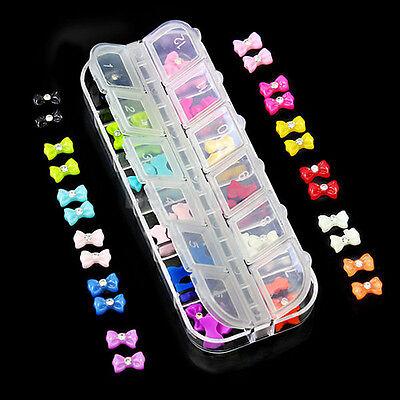 60Pcs 3D Glitters Bow Tie Butterfly Rhinestone Nail Art Tips Decorative DIY