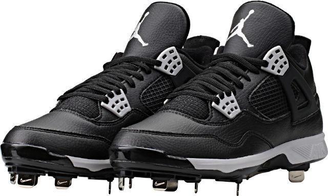 6ff86057aab Nike Baseball Cleats Jordan Retro IV 4 Metal Black Tech Gray Size 11 Oreo  for sale online | eBay