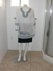 Catherines-White-Top-3-4-Sleeves-Blouse-Size-0X-14-16W