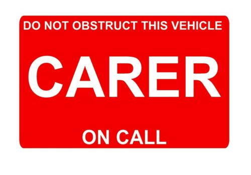 CARER on Call RED Dash Card car windscreen Parking Home Help Patient Visit
