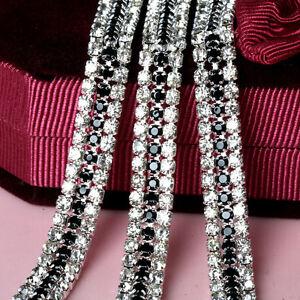 1-Yard-3-Rows-Clear-and-Black-Crystal-Rhinestone-Trim-Chain-Sewing-Craft-Chains
