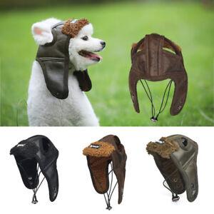 fda044a4 Pet Dog Winter PU Aviator Helmets Cap Puppy Hat Warm Windproof ...
