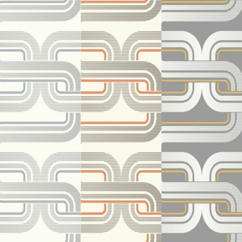 Arthouse Link Pattern Retro Geometric Line Striped Smooth Geo Wallpaper