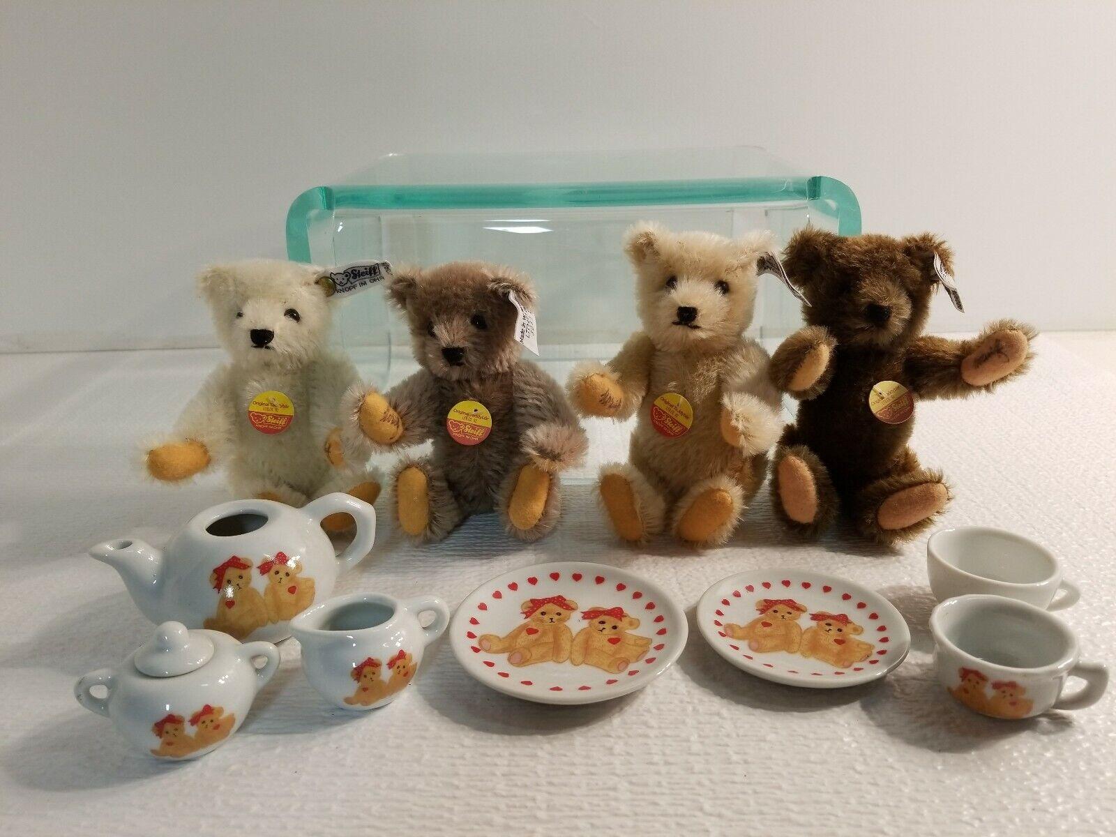 4 STEIFF Germany Teddy Bear Tea Party Set Ltd Ed. '82 3081 Autographed-Signed