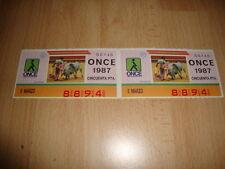 NUMERO O CUPON DE LA ONCE 8894 DEL 5 DE MARZO DE 1987 X 2 CUPONES MUY NUEVOS