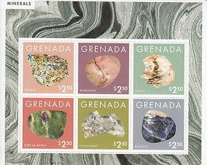 Grenada 2013 MNH Minerals 6v M/S Azurite Rhodonite Baryte Ruby Sodalite Stamps