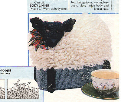 Loopy Black-Face Sheep Tea Cosy Chunky Wool  Vintage Knitting Pattern