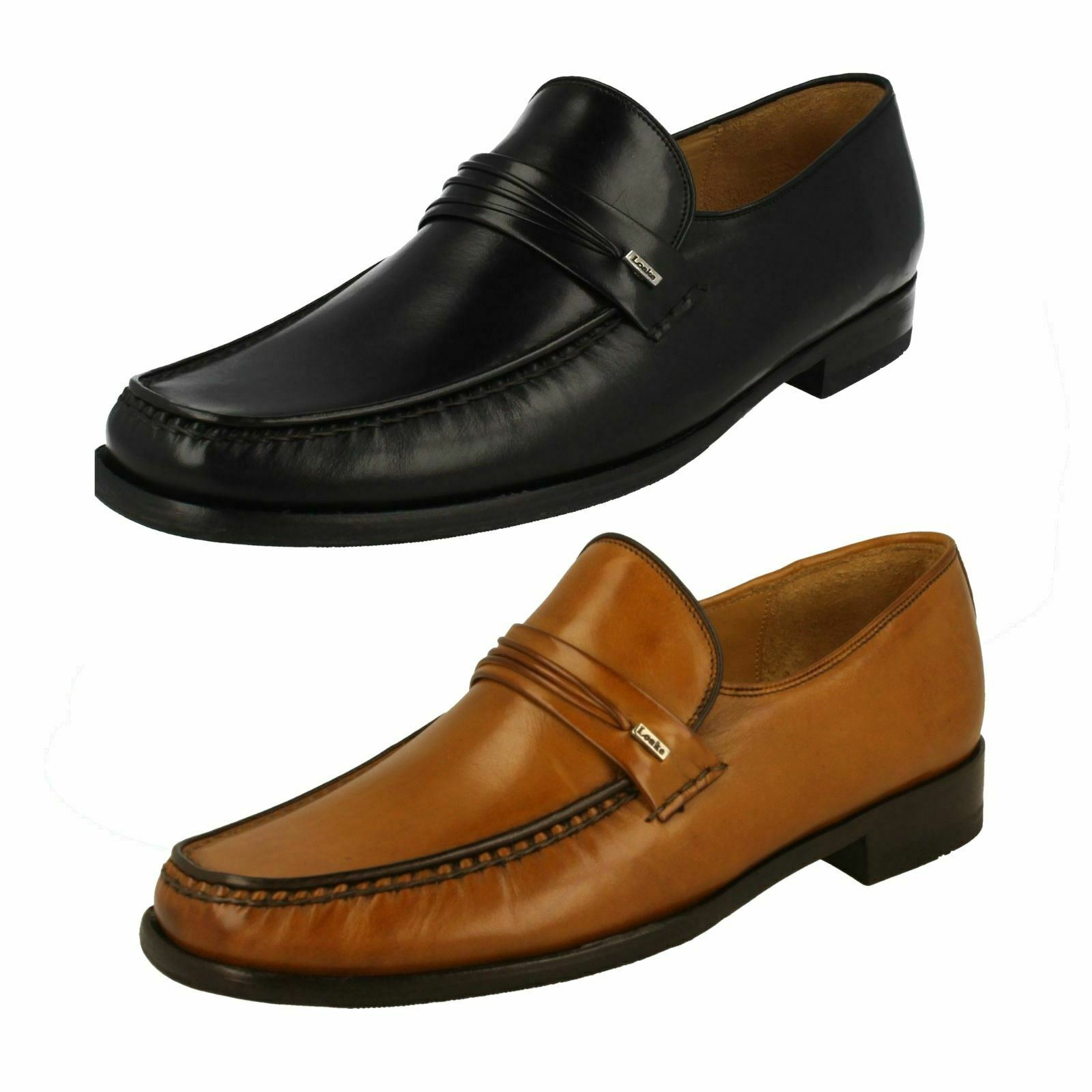 Loake Mens Leather Moccasin Slip On schuhe Palermo 2