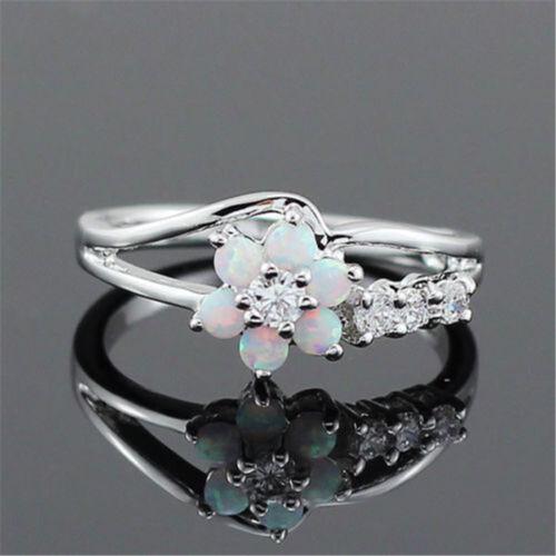 Women Fashion Fleur Blanc Opale de feu argent 925 Pierres précieuses Bijoux Anneau Taille 6-10