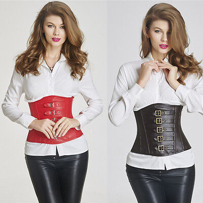 Womens Lace Up Gothic Steampunk Corset Bustier Shapewear Faux Leather UK 6-16