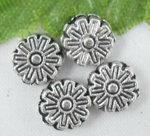 Lead-free Wholesale 88//190Pcs Tibetan Silver Flower Spacer Beads 6x2mm