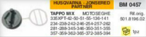 TAPPO SERBATOIO MOTOSEGA HUSQVARNA JONSERED PARTNER 362 365 372 385 394