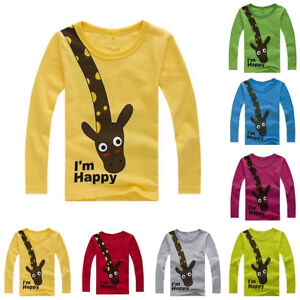 2cb35e0f80 EG  Baby Kids Boys Girls Giraffe Printing Long sleeve T-shirt Tops ...