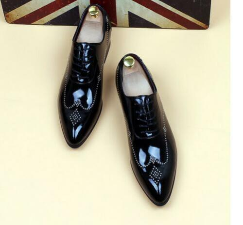 Brogue Mens pointed toe leather Wedding Fashion Lace Up Oxfords shoes British