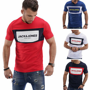 Jack-amp-Jones-T-Shirt-Hommes-Print-Shirt-Manches-Courtes-Shirt-herrentop-Top-Casual