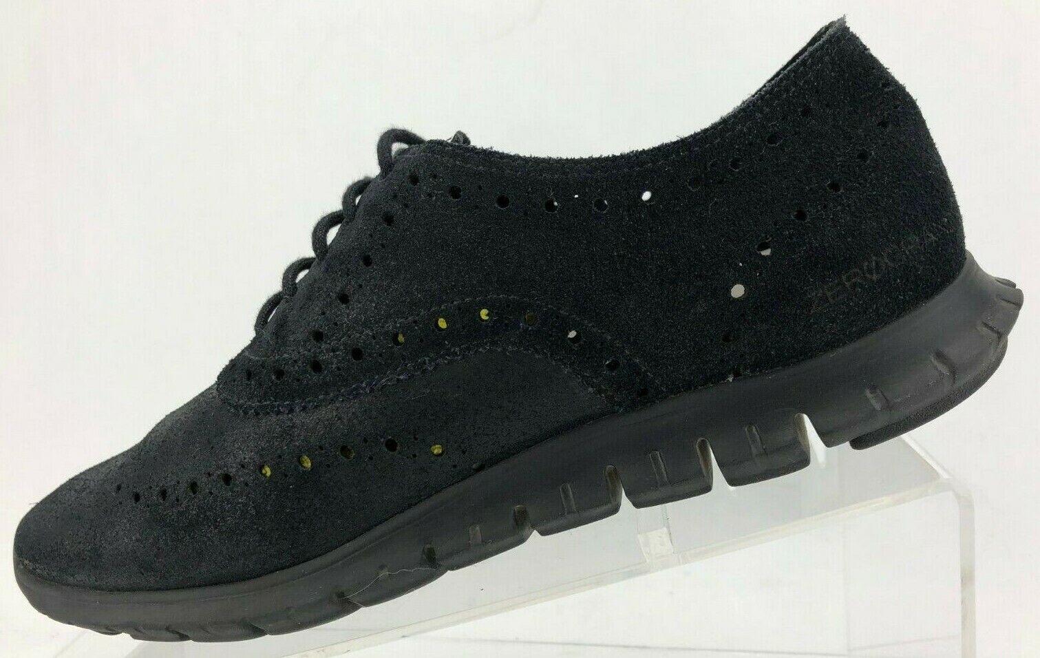 Cole Haan zerogrand punta del ala Oxford Zapatos Con Cordones Comodidad De Gamuza Negra Para Mujer 8 B