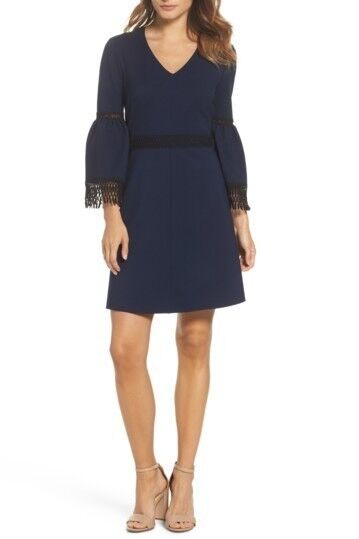 Kobi Halperin Vanessa Bell Bell Bell Sleeve Dress Navy Size 6 US New 706eb4