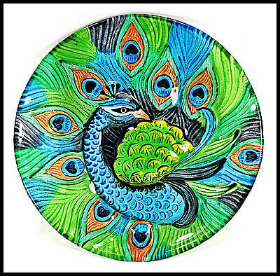 Peacock Art Glass Plate Hand Painted Home Decor