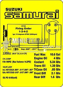 Suzuki Samurai 4WD Instruction Card Replica G13A Spec Card Outdoor Grade