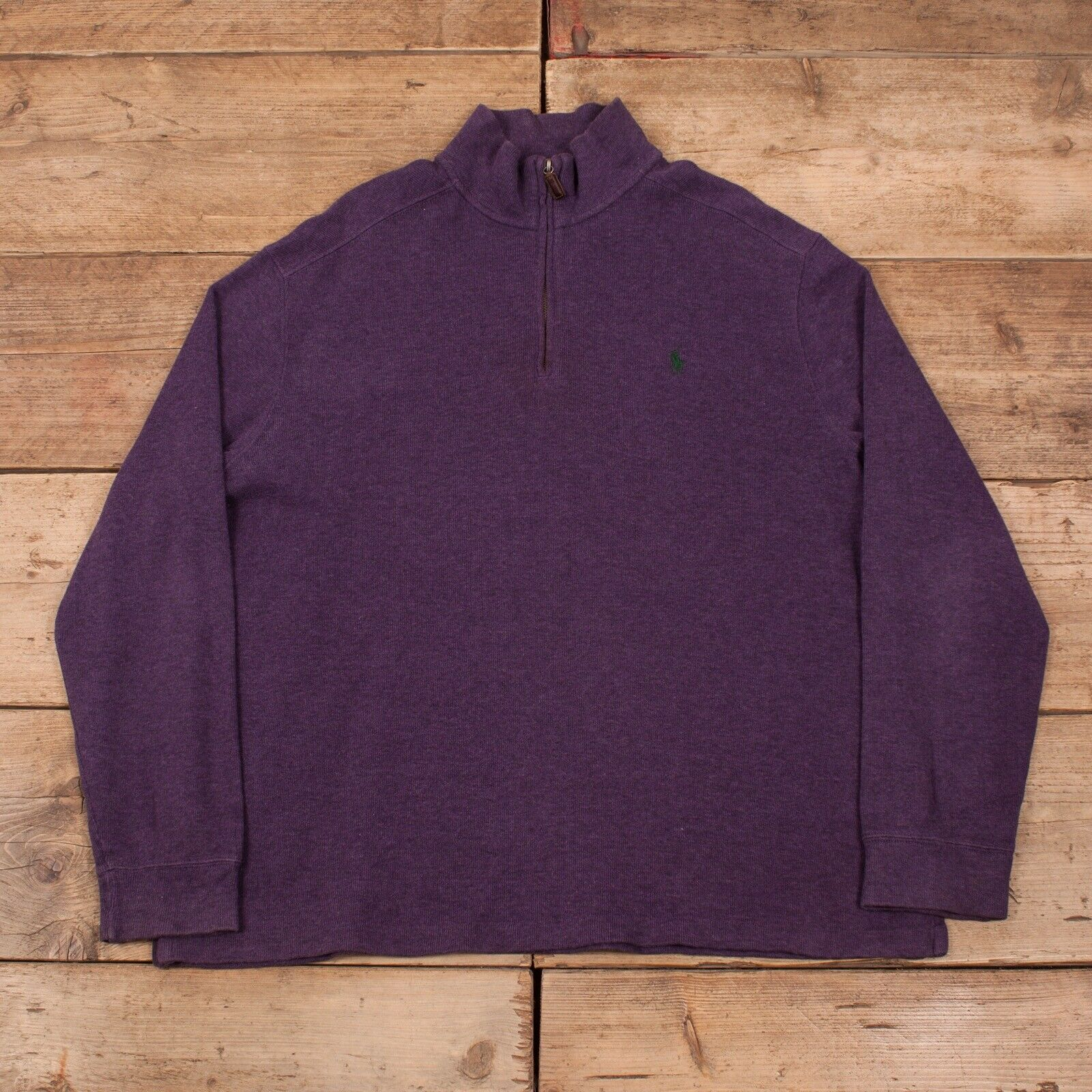 "Mens Vintage Polo Ralph Lauren Purple Half Zip Jumper Sweatshirt XL 48"" R11457"