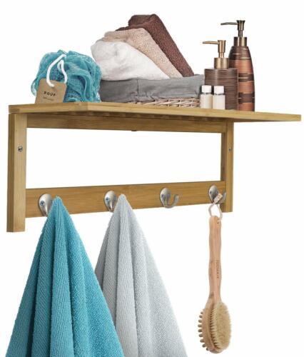 Wall-Mounted Coat and Towel Rack Hook Bamboo w// 4 Hook and Upper Storage Shelf