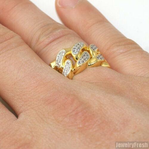 14k Gold Tone Lab Made Miami Cuban Link Mens Ring