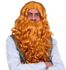 Brown Warrior Wig Mens Viking Celtic Medieval Fancy Dress Beard Braids