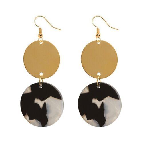Trendy Women Green Acrylic Resin Circle Geometric Pendant Drop Earrings Jewelry