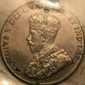1928-CANADA-5-CENTS-COIN-ICCS-AU-55-Close-to-Uncirculated