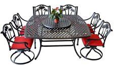 Outdoor 8 Piece Patio Dining Set Cast Aluminum Furniture Palm Tree Garden Bronze
