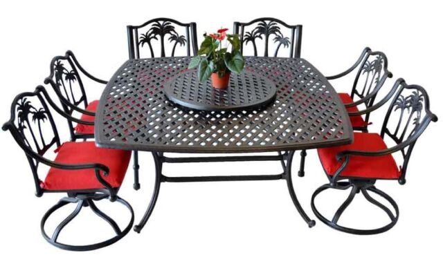 8 Piece Patio Dining Set Outdoor Cast, Palm Tree Furniture