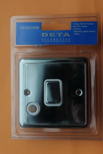Flex Outlet Blanc Inserts DETA 2935CHW chrome poli 20 A 1 G Dp Interrupteur