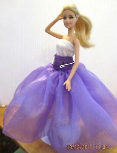 Barbie-Long-golden-blonde-Hair-White-dress-purple-long-skirt-amp-mauve-high-heels