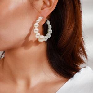 Stylish Women Lady Elegant Pearl Beads Ear Stud Hoop Dangle Earrings Jewelry