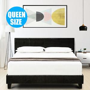 Queen Size Faux Leather Platform Bed Frame & Slats Upholstered Headboard Bedroom
