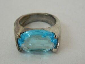 Anello-Argento-fissato-Electro-Plated-con-pietra-azzurra-vintage-OMA19