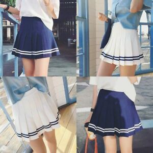 Women-Girl-Tennis-High-Waist-Pleated-Mini-Skirt-Party-School-Skater-Flared-Dress