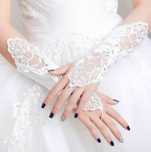 IVORY LACE WEDDING BRIDES SATIN RHINESTONE CRYSTAL LONG GLOVES WHITE