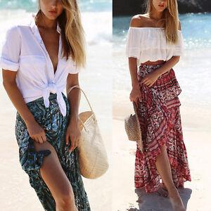 Women-Boho-Floral-Dress-Long-Dress-Full-Skirt-Beachwear-Party-Dresses