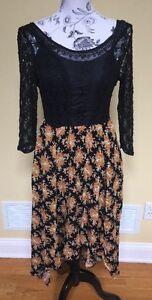 florale dentelle haute Top taille robe noire Free People 6 basse en qTWg6