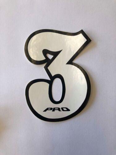 NOS PRO BMX Motocross number plate number 3 White//Black vintage oldschool
