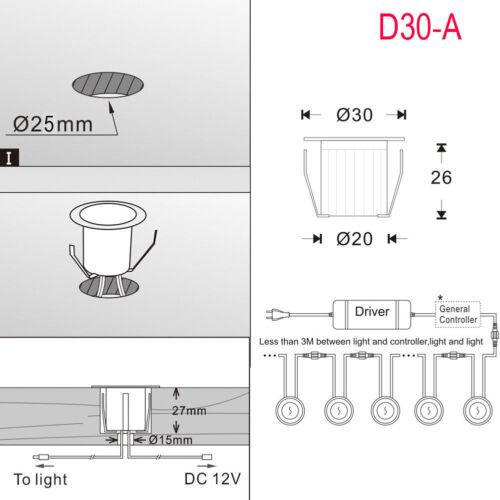 6er Set 30mm RGB LED Bodeneinbauleuchte Terrasse Außen Einbaustrahler Edelstahl