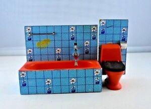 Puppenmöbel Lundby Badezimmer Badewanne Toilette orange blau Holz | eBay