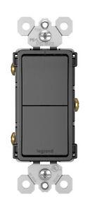 Copieux Legrand Rcd11bkcc6 Radiant Noir Deux Poteau Unique Interrupteurs 15a