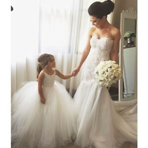 cd05a89e582 Image is loading Ivory-Crochet-Lace-Tulle-flower-girl-dress-amp-