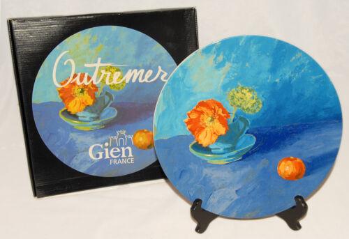 "Outremer Colorful Floral France GIEN 12/"" Cake // Chop PLATE // Platter *RARE"