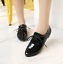 Womens Pointed Toe Patent Leather Brogue Lace Up Flats Oxfords Shoes All Size