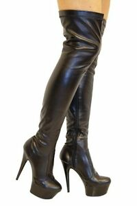 Thigh High Boots Black Leather Look PU