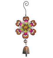 Flower Ornament Glass Metal Hanging Bell Door Chime Wind Suncatcher Garden